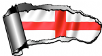 Ripped Open Gash Torn Metal Design With St Georges Cross England Flag Motif External Vinyl Car Sticker 140x75mm